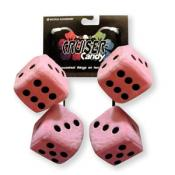 Fuzzy Dice Tassels - Pink and Black
